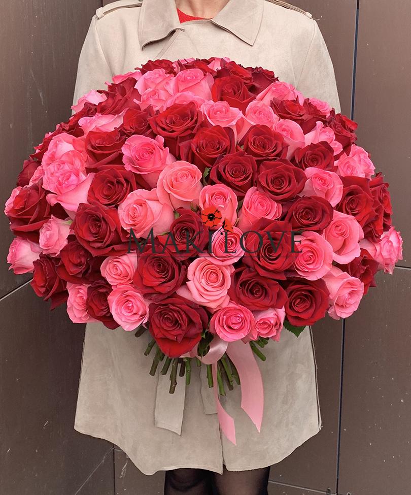 Букет 101 красно-розовая роза