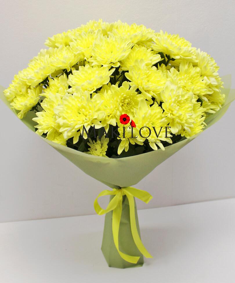 Букет из 7 желтых хризантем