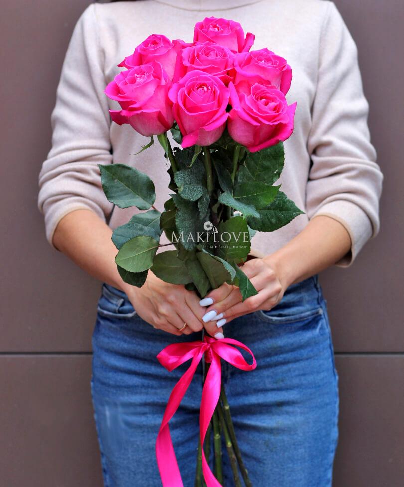 Букет из 7 розовых роз Premium