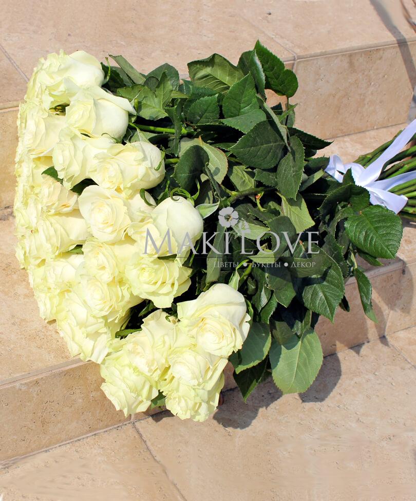 Букет из 51 белой розы «Premium»
