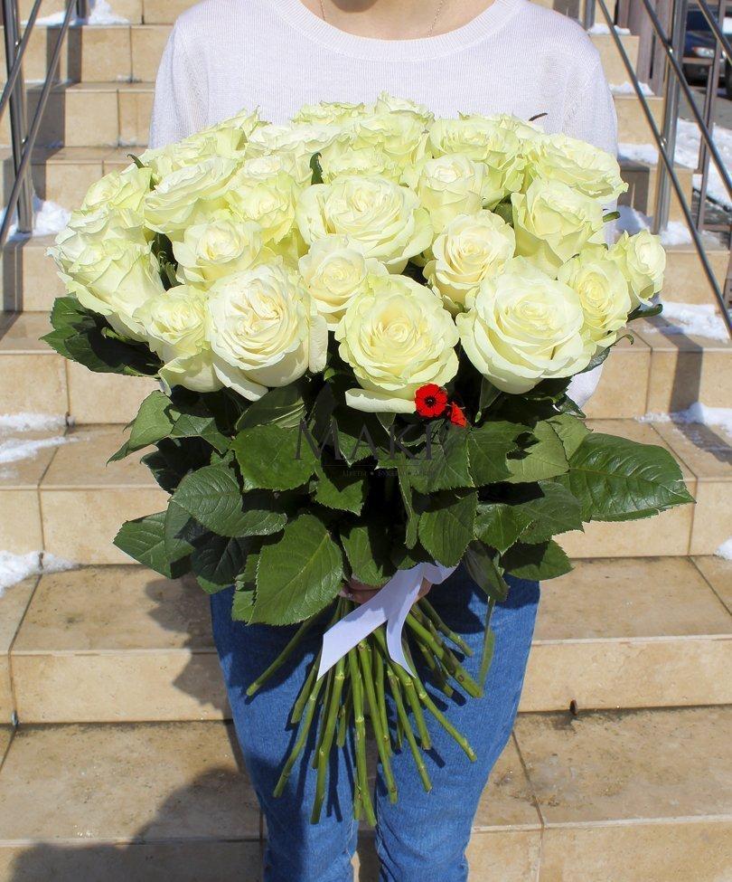 Букет 35 белых роз «Premium»