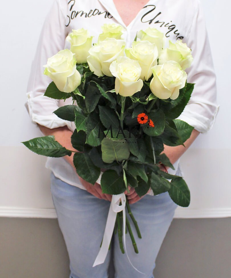 9 белых роз PREMIUM