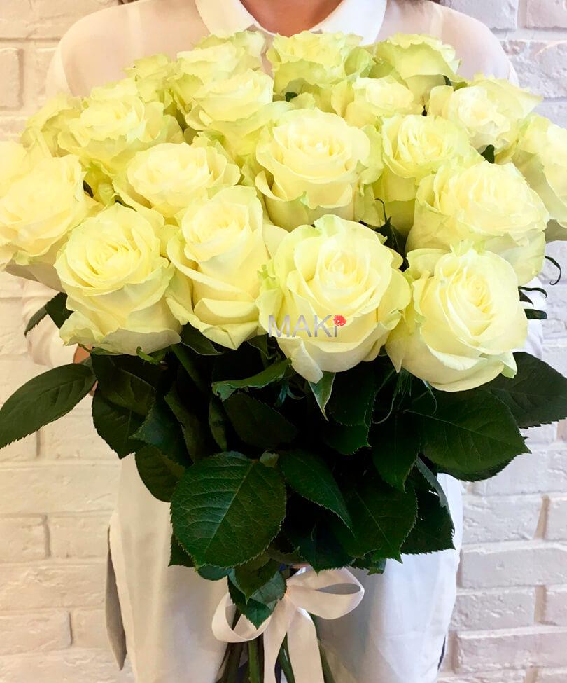 Букет из 25 белых роз «Premium»
