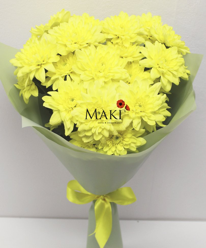 Букет из 3 желтых хризантем