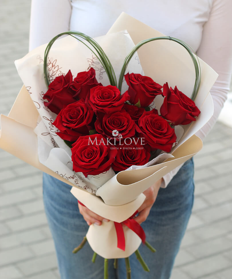 Сердце из 11 роз «Mi Аmor»