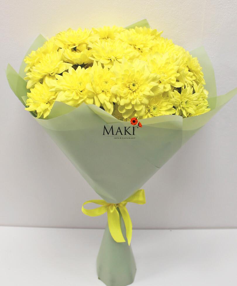 Букет из 5 желтых хризантем
