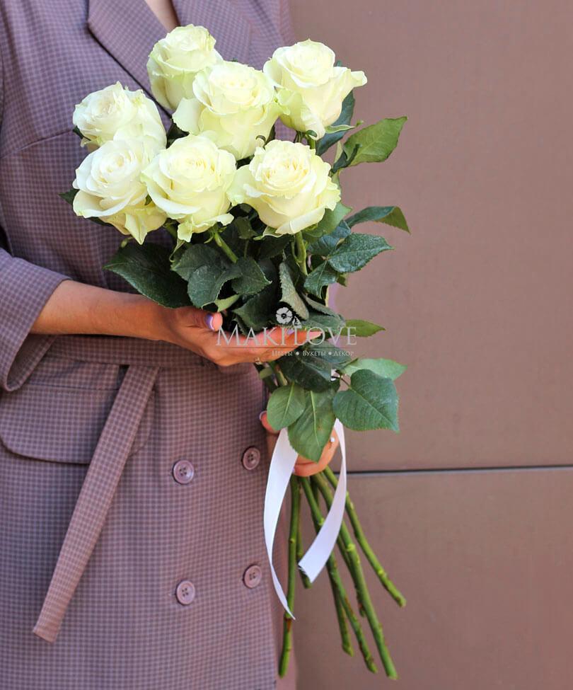 Букет из 7 белых роз Premium