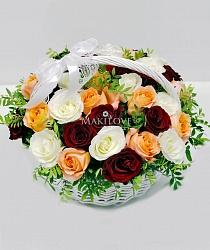 Корзина 35 роз «Музыка красок»