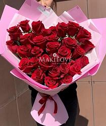Сердце из 31 красной розы