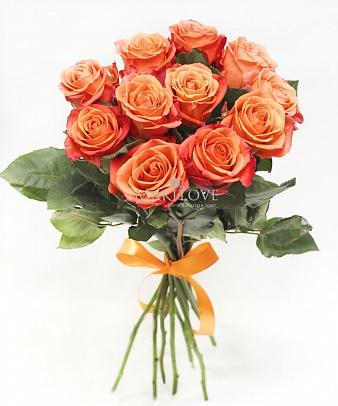 Букет 11 оранжево-красных роз