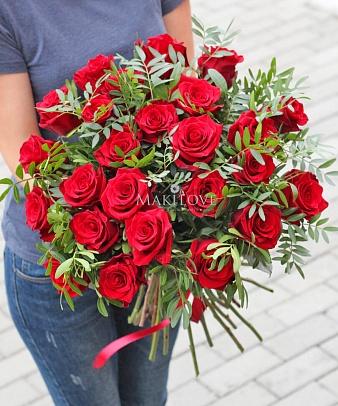 Букет роз «Эсмеральда» с лентой