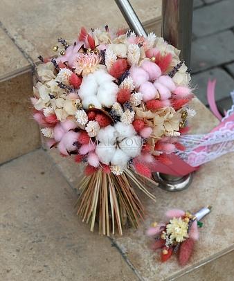 Свадебный букет невесты из сухоцветов №40