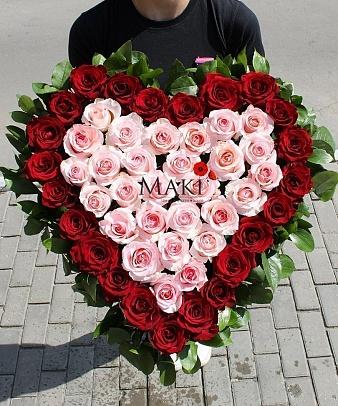 Сердце из 51 розовой розы «Моей любимой»