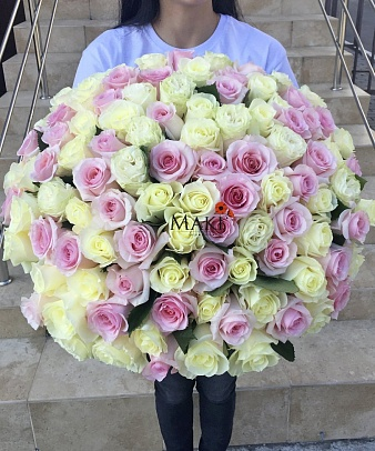 Букет 101 бело-розовая роза