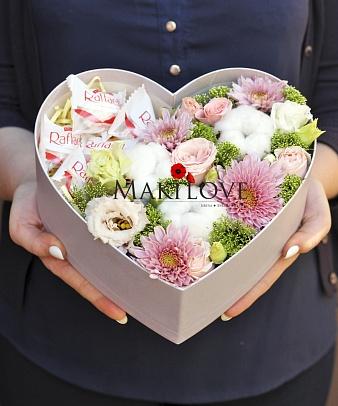 Композиция «Моя любовь» в коробке-сердце