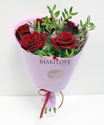Букет роз «Клубничный пломбир»
